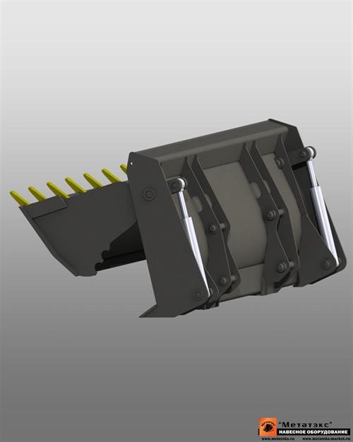Ковш универсальный 4 в 1 (двухчелюстной) для JCB 3cx 1 куб. метр (2400 мм) - фото 14550
